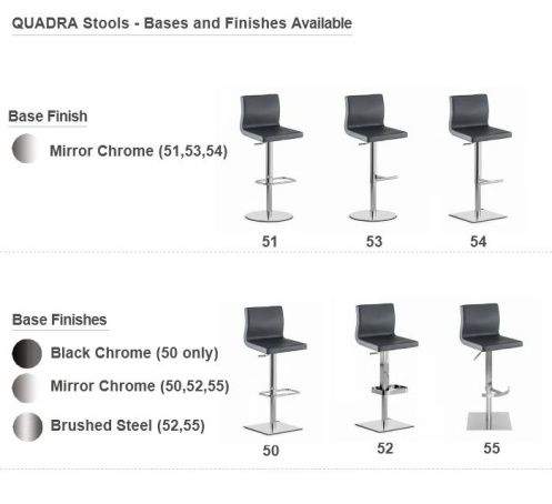 Quadra Adjustable Bar Stools - 6 Bases Available