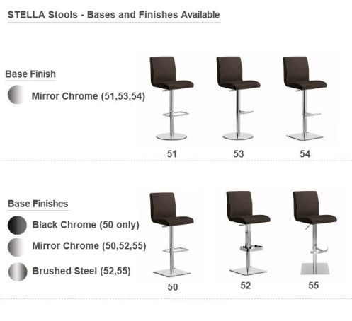 Stella Adjustable Stools - 6 Different Bases Available